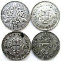 GREAT BRITAIN UK COINS THREEPENCE 1921 & 1931 & 1938 & 1940