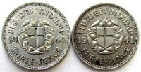 GREAT BRITAIN UK COINS THREEPENCE 1940 & 1941 GEORGE VI SILV