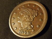 COLLECTIBLE UNITED STATES MINT 1846 BRAIDED HAIR LARGE CENT COIN COMPARES TO AU