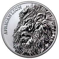 2018 REPUBLIC OF CHAD AFRICAN LION 1 OZ SILVER FR5 000 COIN BU SKU51641