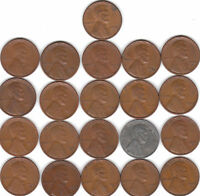 1935S/36S/37S/38S/39S & 1940S TO 1955S  COMPLETE 21 COIN LINCOLN WHEAT CENT SET