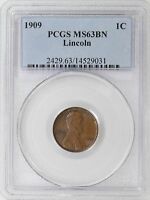 1909-P PCGS MINT STATE 63 BN LINCOLN WHEAT CENT CENT FIRST YEAR GREAT LUSTER - I-11369