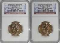 2010 P & D 14TH PRESIDENT FRANKLIN PIERCE MINT STATE 66 FIRST DAY OF ISSUE 2-COIN SET