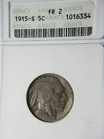 ANACS GRADED KEY DATE 1915-S BUFFALO NICKEL 5 LOW MINTAGE 1.5 MILLION EG50MN
