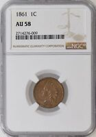 1861 NGC AU58 INDIAN HEADY PENNY CENT CIVIL WAR DATE W/ LUSTER - I-11409