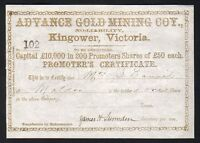 SHARE SCRIP   GOLD MINING. C MID 1800S. ADVANCE GOLD MINING CO   KINGOWER VIC.