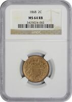 1868 TWO CENT PIECE MINT STATE 64RB NGC