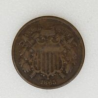 1865 VG CONDITION 2 TWO CENT PIECE CIVIL WAR DATE - I-11848 F