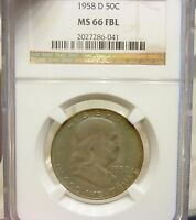 1958 D FRANKLIN HALF DOLLAR NGC TIE 2ND FINEST GRADED TONING MINT STATE 66 FBL