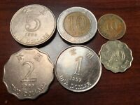 LOT 6 COINS HONG KONG 1983 TO 1997 CHINA ASIA ASIAN QUEEN CENTS AND DOLLARS