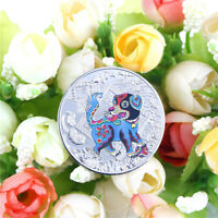 1PC YEAR OF THE DOG SILVER 2018 CHINESE  ANNIVERSARY COINS TOURISM GIFT HF