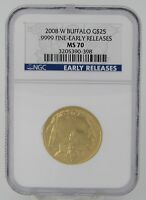 2008 W $25 BUFFALO EARLY RELEASE GOLD COIN NGC MS70   CERT 3205390 080
