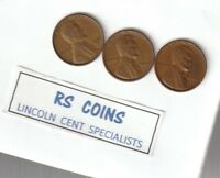 1951D  1952D  1953D   /  3  ROLLS  OF  CIRCULATED  LINCOLN  CENTS    RS COINS