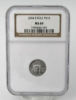 2004 $10 AMERICAN EAGLE .9995 PLATINUM COIN NGC MS69  CERTIFICATION 1790586 187