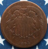 KAPPYSCOINS GH9928 1864 CIVIL WAR TWO CENT PIECE FULL RIIM  GOOD TO  GOOD