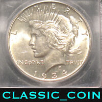1934-D SILVER PEACE DOLLAR $1  DATE ICG MINT STATE 62 SHIPS FREE