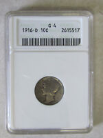 1916D SILVER MERCURY DIME - KAY DATE GRADED BY ANACS AS G 4 -  COIN