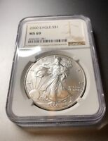 2000 AMERICAN SILVER EAGLE 1OZ .999 FINE SILVER COIN NGC MINT STATE 69