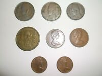 MIXED LOT FOREIGN COINS 8 COINS 1  100.00 MEXICAN