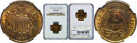1864 LARGE MOTTO TWO CENT PIECE NGC MINT STATE 66 RB