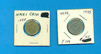 LOT OF 2 DIFFERENT FOREIGN OLD COINS NAZI 1938 AND USSR 1935