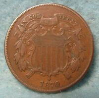 1870 TWO CENT PIECE VF  US COIN 2425