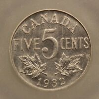 CANADA 5 CENTS 1932 NICKEL ICG MS62