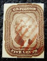NYSTAMPS US STAMP  12 USED $850 RED CANCEL