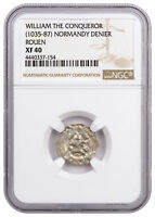 C. 1035 87  NORMANDY ROUEN SILVER DENIER OF WILLIAM CONQUEROR NGC XF40 SKU46872
