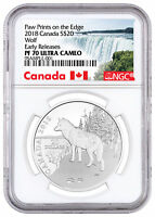 2018 CANADA NATURE'S IMPRESSIONS WOLF 1 OZ SILVER $20 NGC PF