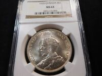 T24 CANADA 1935 SILVER DOLLAR NGC MS 63
