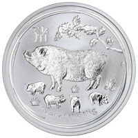 2019 P AUSTRALIA YEAR OF THE PIG 1 OZ SILVER LUNAR SRS 2 $1 COIN GEM BU SKU55204
