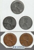 1943 1943D 1943S 1954 1955S   -  5 TOUGH TO GET LINCOLN CENTS - RS COINS $3 SALE