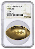 2017 CANADA $200 1 OZ. PROOF GOLD FOOTBALL SHAPED COIN NGC P