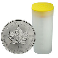 ROLL OF 25  2019 CANADA 1 OZ. SILVER MAPLE LEAF $5 COINS GEM BU SKU55538