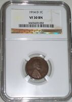 1914-D LINCOLN CENT NGC GRADED VF30 BN   KEY DATE  LOW MINTAGE