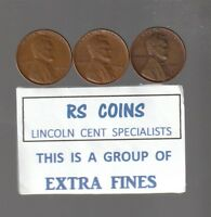 1940D / 1941D / 1942D   LINCOLN  CENTS  RS COINS  ALL 3  EXTRA FINE  102208