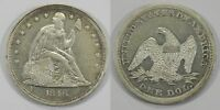 X228  1846 LIBERTY SEATED SILVER DOLLAR, AU/BU DETAILS, CLEANED