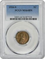 1916-S LINCOLN CENT MINT STATE 64BN PCGS MINT STATE 64 BROWN