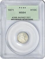 1871 LIBERTY SEATED HALF DIME MINT STATE 64 PCGS