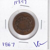 KAPPYSWHOLESALE  ID11297  1867 TWO CENT PIECE VG  GOOD COLLECTOR COIN