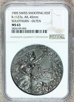1905 SWITZERLAND SOLOTHURN OLTEN SWISS SHOOTING SILVER MEDAL R-1127A NGC MINT STATE 64