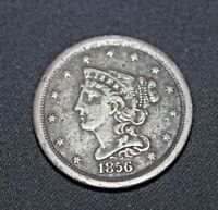 1856 BRAIDED HAIR COPPER HALF CENT LOW MINTAGE