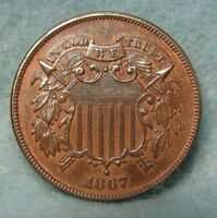 1867 TWO CENT PIECE CHOICE AU UNCIRCULATED ORIG MINT LUSTER   US COIN 3179
