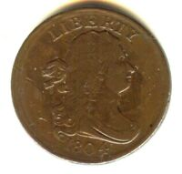 1804 DRAPED BUST HALF CENT 100  ORIGINAL VF    NO CLEANING N