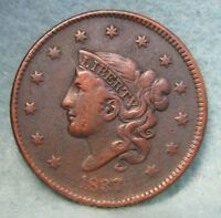 1837 CORONET HEAD LARGE CENT VF DETAILS   US COIN