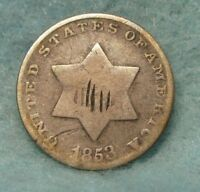 1853 THREE CENT SILVER   US COIN