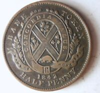 1842 CANADA  LOWER  1/2 PENNY   GREAT COIN   AU       VALUE