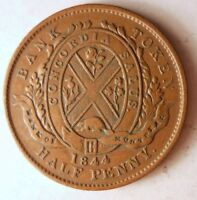 1844 CANADA  LOWER  1/2 PENNY   GREAT COIN   AU/UNC       VA