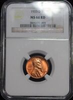 1933 D NGC MS66 RD GEM LINCOLN CENT  HB1441